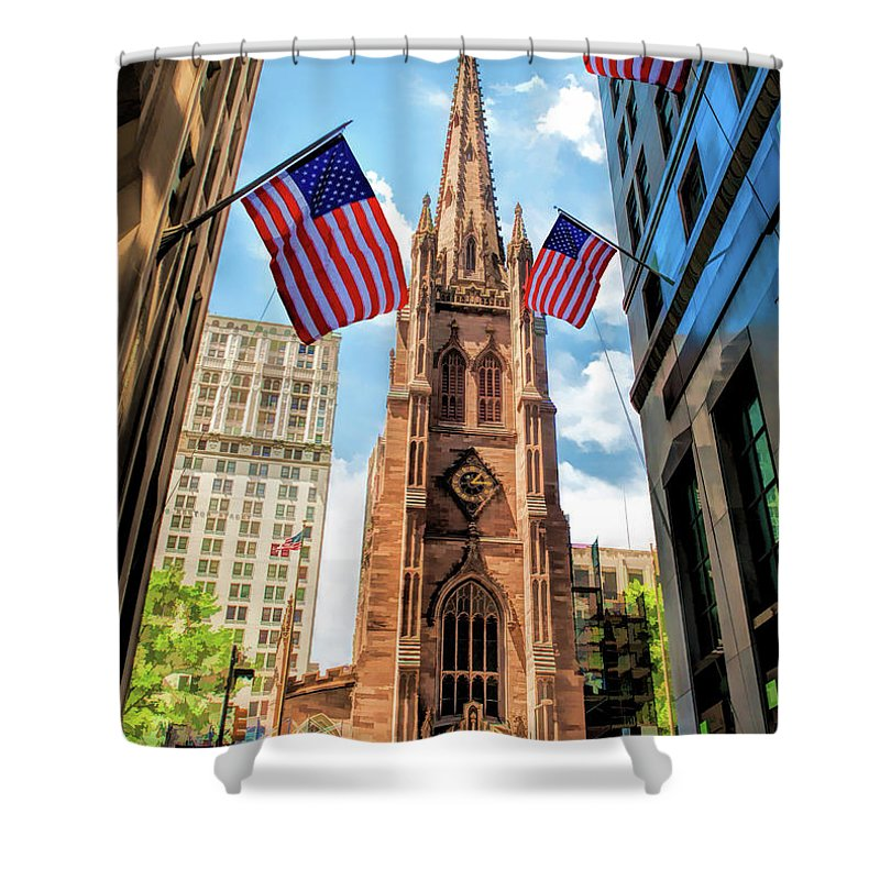 New York Shower Curtain featuring the painting New York City Trinity Church by Christopher Arndt