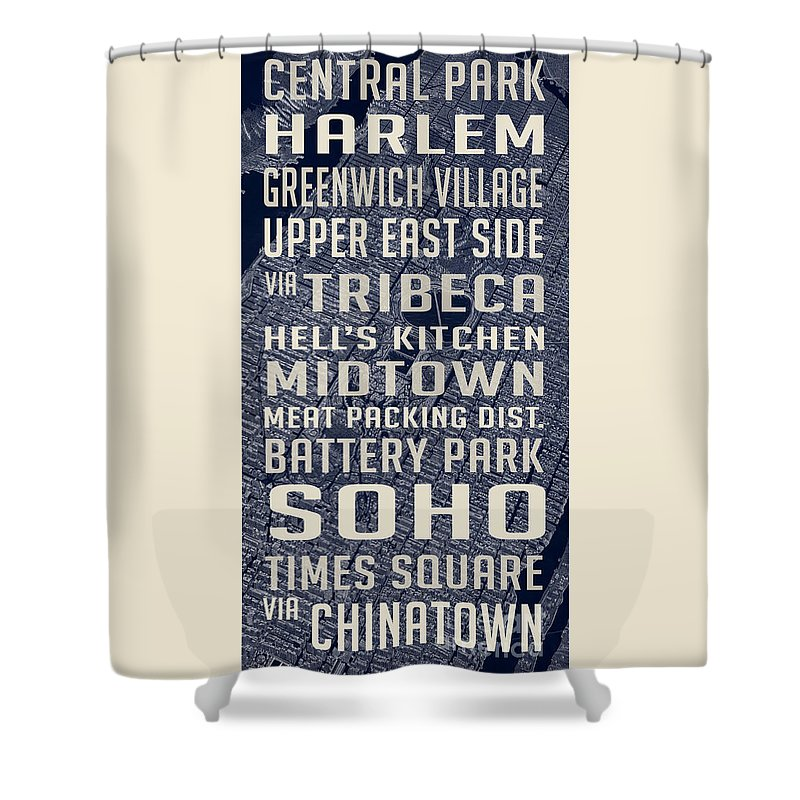 Nyc Shower Curtain Featuring The Photograph New York City Vintage Subway Stops With Map By Edward