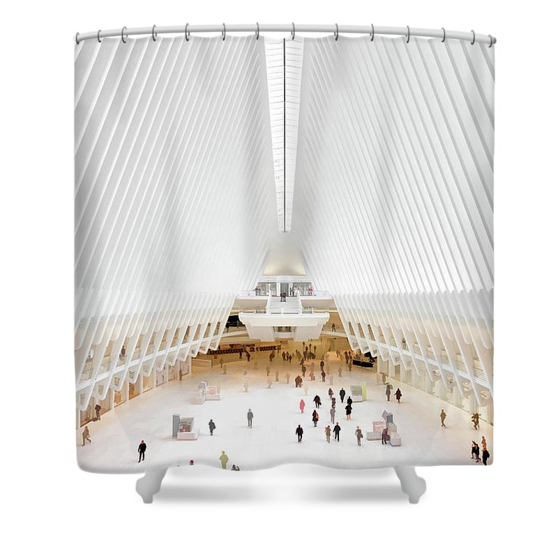 New York Shower Curtain featuring the painting New York City World Trade Center Oculus by Christopher Arndt