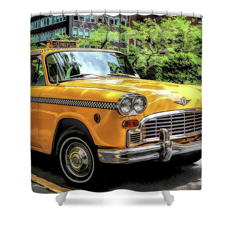 New York Shower Curtain featuring the painting New York City Yellow Checker Taxicab by Christopher Arndt