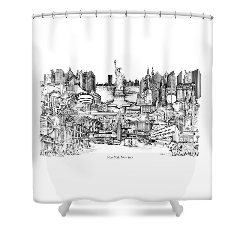 City Drawing Shower Curtain featuring the drawing New York by Dennis Bivens