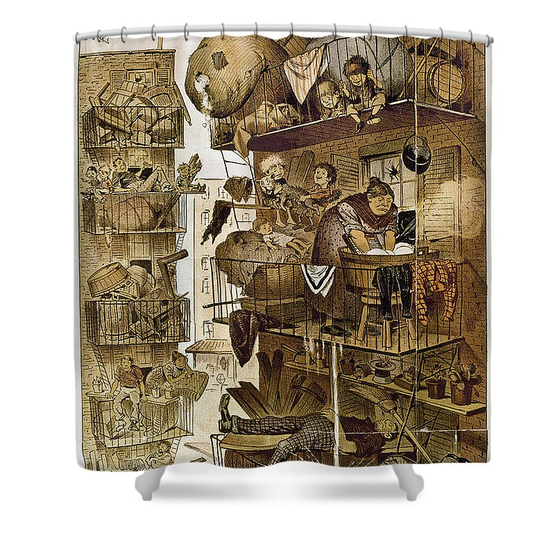 1890 Shower Curtain featuring the photograph New York: Fire Escapes by Granger