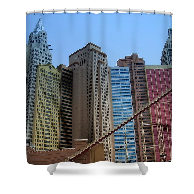 Vegas Shower Curtain featuring the photograph New York Hotel by Anita Burgermeister
