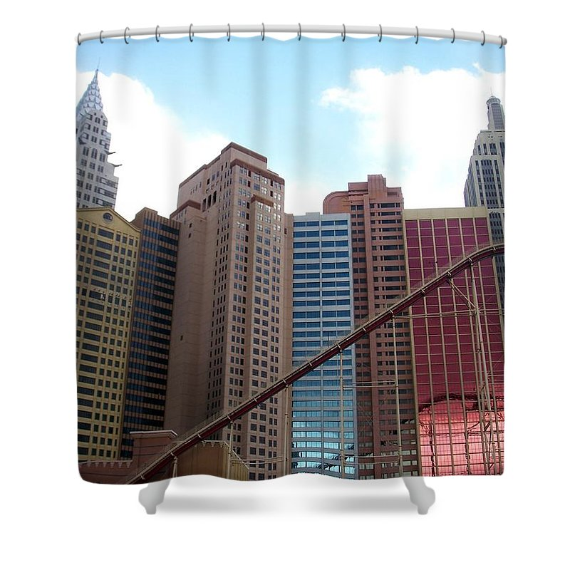 Vegas Shower Curtain featuring the photograph New York Hotel With Clouds by Anita Burgermeister