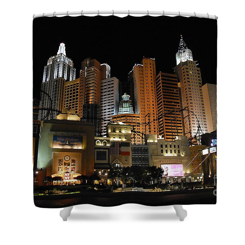 New York Shower Curtain featuring the photograph New York Las Vegas by David Lee Thompson