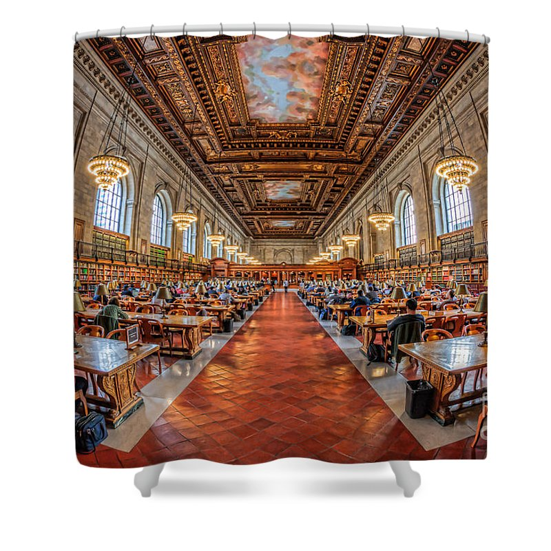 Clarence Holmes Shower Curtain featuring the photograph New York Public Library Main Reading Room I by Clarence Holmes