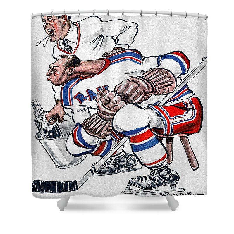 New York Shower Curtain featuring the painting New York Rangers 1960 Program by John Farr