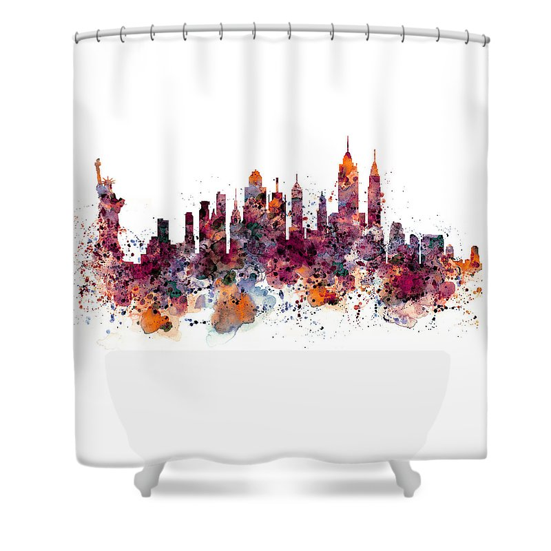 New York Shower Curtain Featuring The Painting Skyline Watercolor By Marian Voicu
