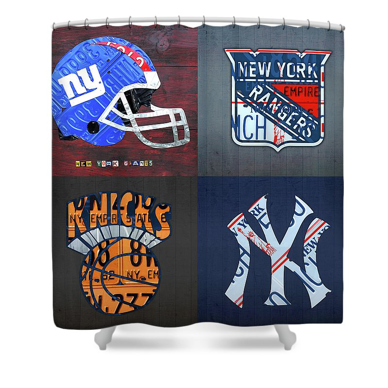New York Shower Curtain Featuring The Mixed Media Sports Team License Plate Art Giants