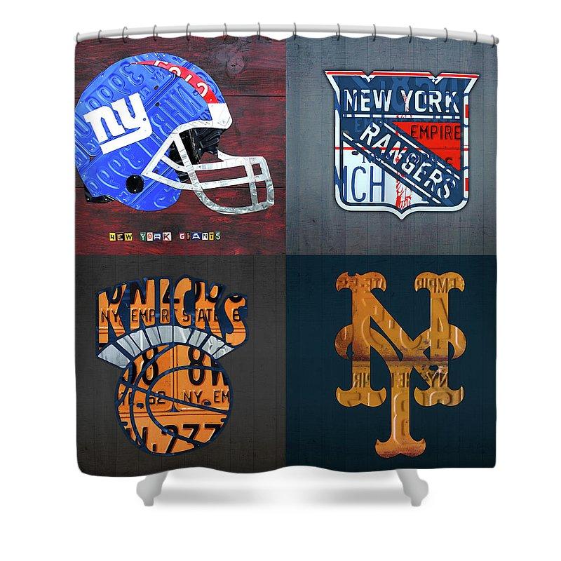 New York Sports Team Logo License Plate Art Giants Rangers Knicks Mets V8 Shower Curtain For Sale By Design Turnpike
