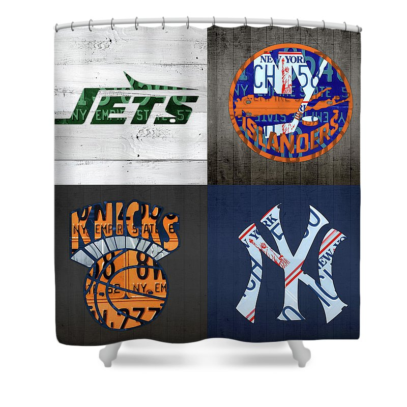 New York Sports Team Logo License Plate Art Jets Islanders Knicks Yankees V5 Shower Curtain For Sale By Design Turnpike