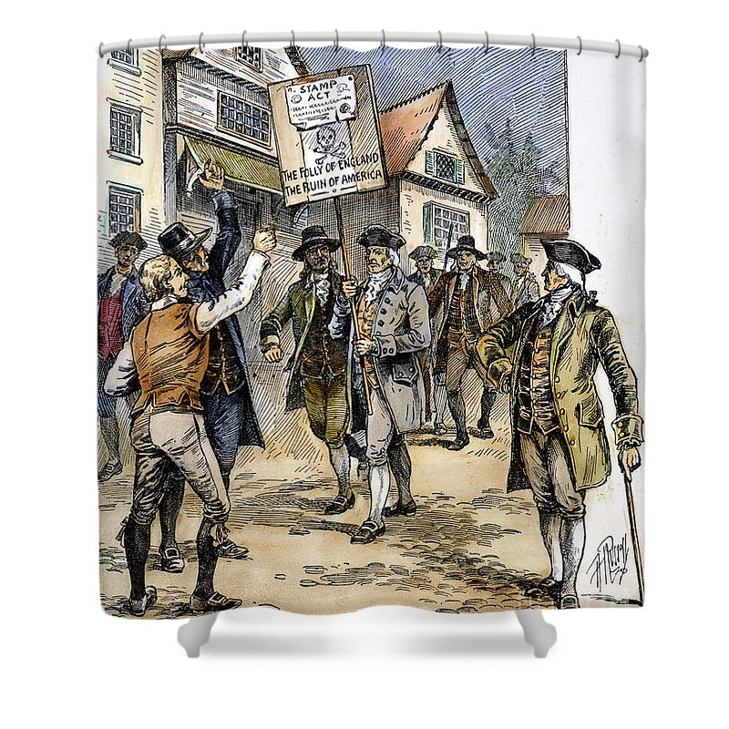 1765 Shower Curtain featuring the photograph New York: Stamp Act , 1765 by Granger