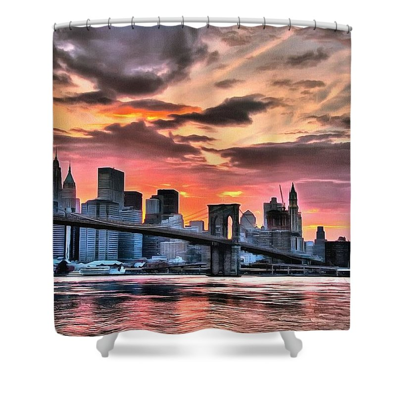 New York Shower Curtain featuring the digital art New York Sunset by Charmaine Zoe