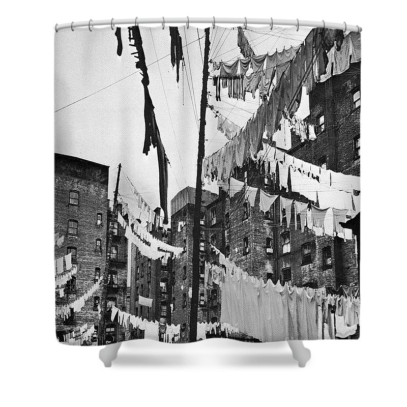 1936 Shower Curtain featuring the photograph New York: Tenement, 1936 by Granger