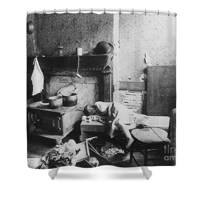 1896 Shower Curtain featuring the photograph New York: Tenement Life by Granger