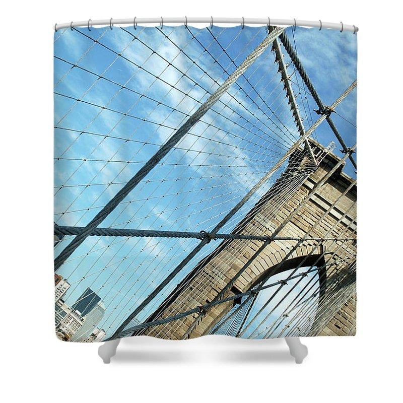 United States Of America Shower Curtain featuring the photograph New York Usa Brooklyn Bridge Towards Manhattan. by Richard Wareham