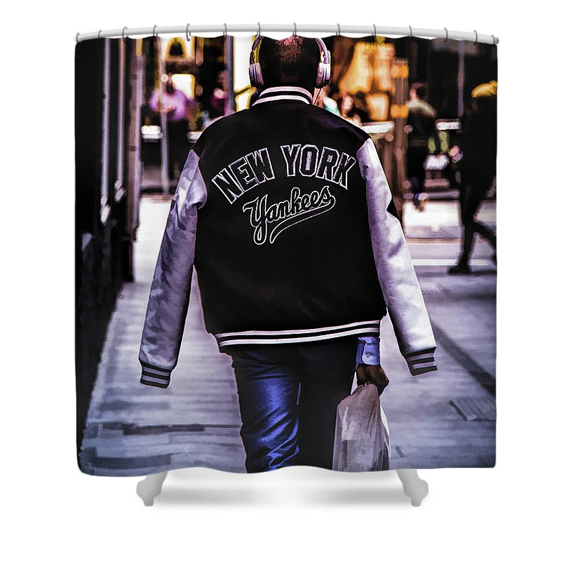 New York Shower Curtain featuring the painting New York Yankees Baseball Jacket by Christopher Arndt