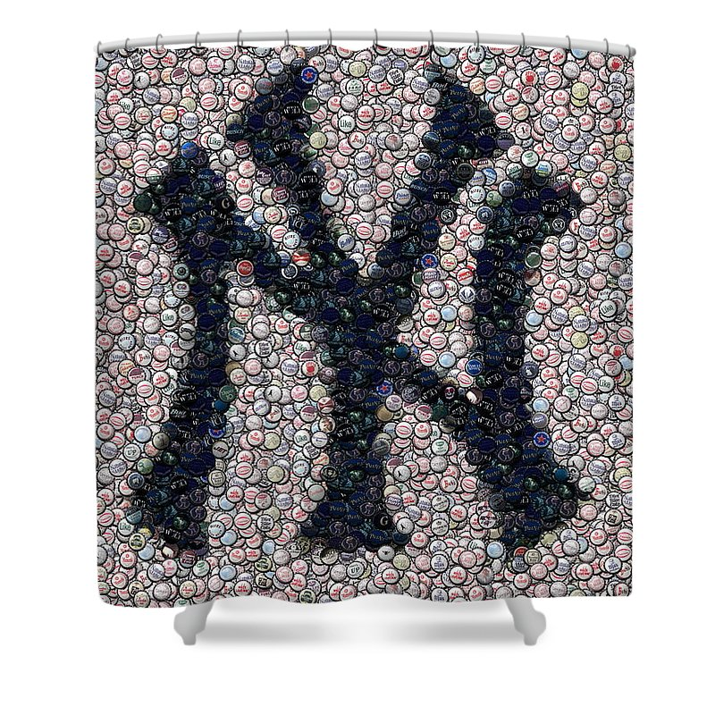 New York Shower Curtain Featuring The Digital Art Yankees Bottle Cap Mosaic By Paul