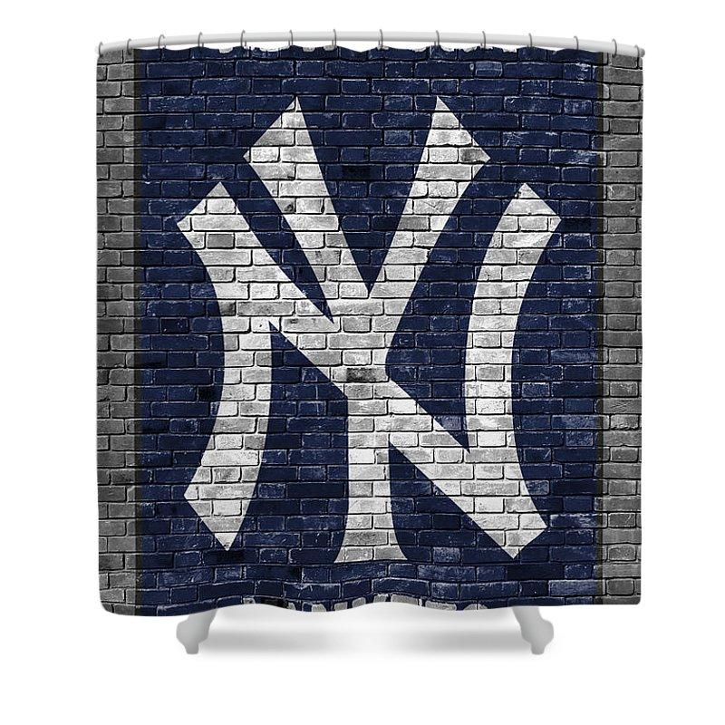 Yankees Shower Curtain featuring the painting New York Yankees Brick Wall by Joe Hamilton