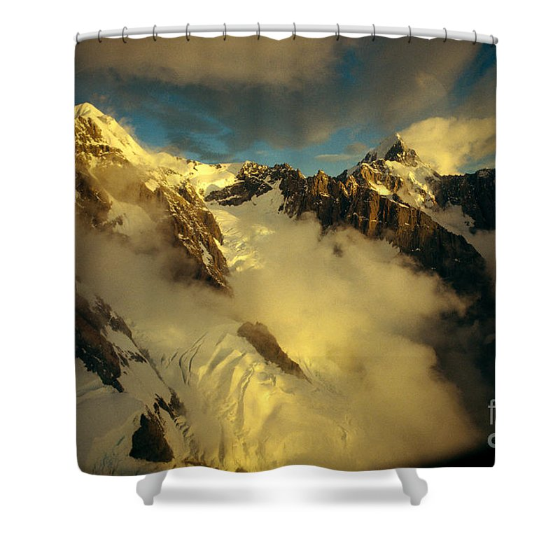 Afternoon Shower Curtain featuring the photograph New Zealand, South Island by Allan Seiden - Printscapes
