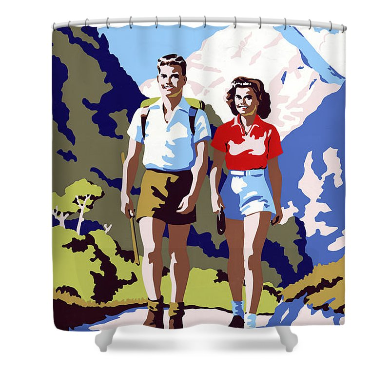 New Shower Curtain featuring the painting New Zealand Vintage Travel Poster Restored by Vintage Treasure