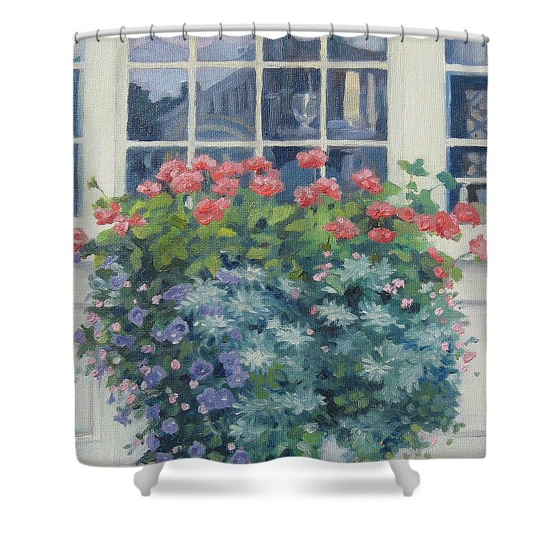 Leslie Mcgrath Shower Curtain featuring the painting Newburyport Window by Leslie Alfred McGrath
