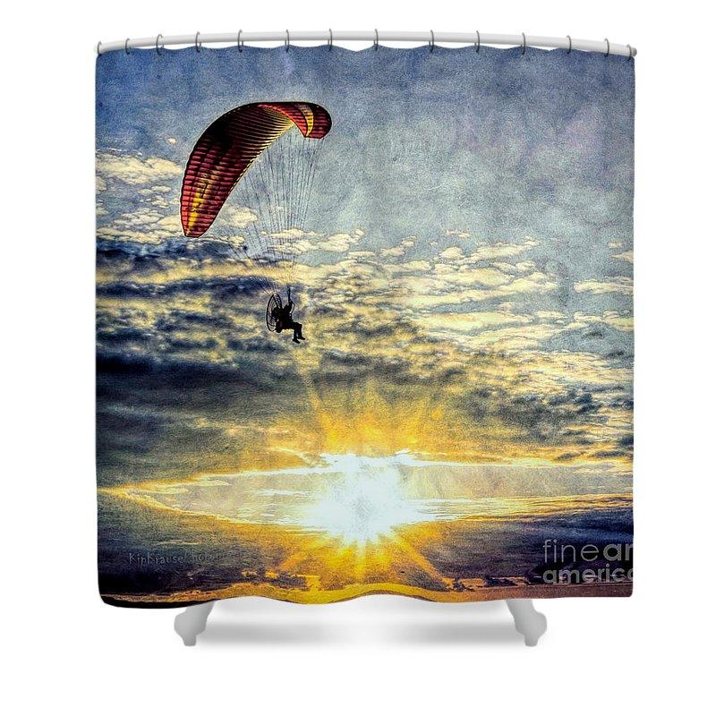 Parasail Sunset Shower Curtain featuring the photograph Newport Beach High Flyer by Kip Krause
