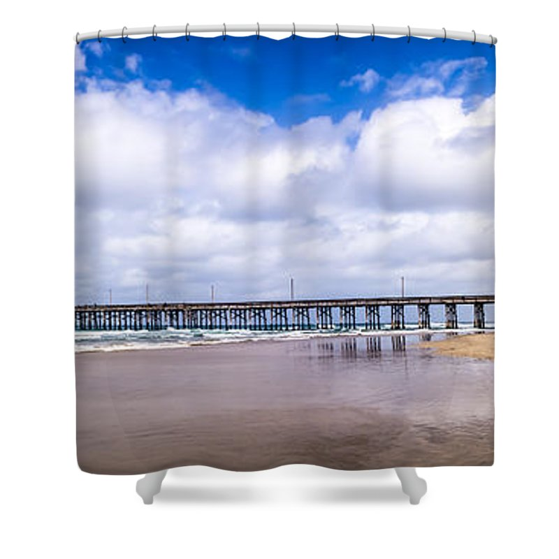 America Shower Curtain featuring the photograph Newport Pier Panorama In Newport Beach California by Paul Velgos