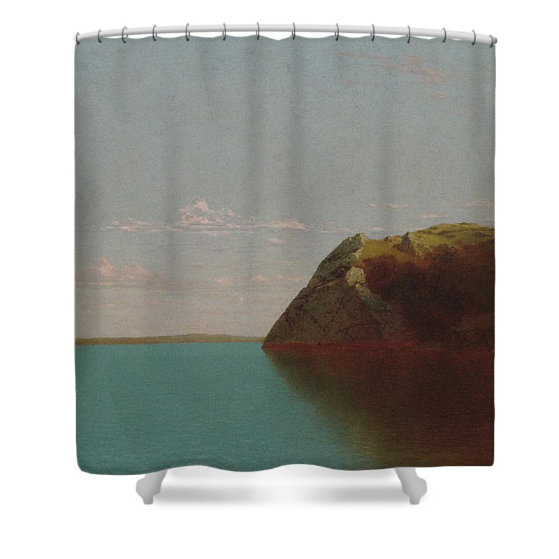 Sea Shower Curtain featuring the painting Newport Rocks, 1872 by John Frederick Kensett