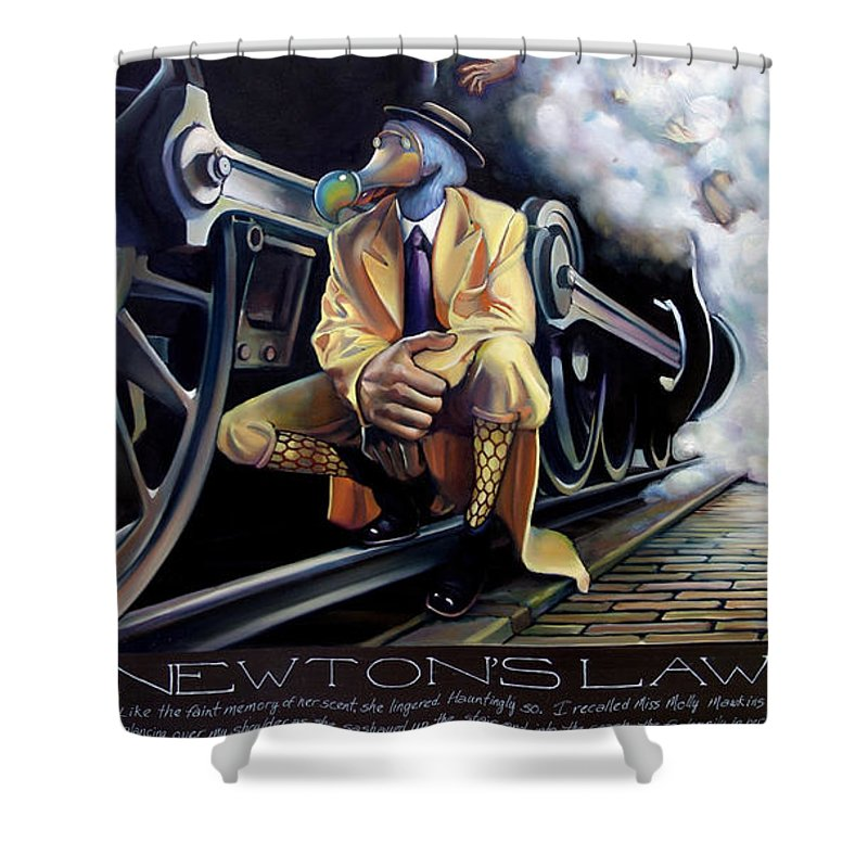 Locomotive Shower Curtain featuring the painting Newton's Law by Patrick Anthony Pierson