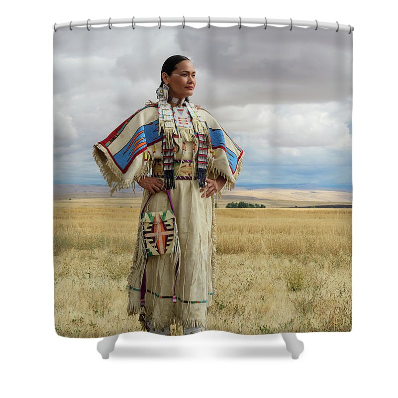 North America Shower Curtain featuring the photograph Nez Perce Woman by Christian Heeb