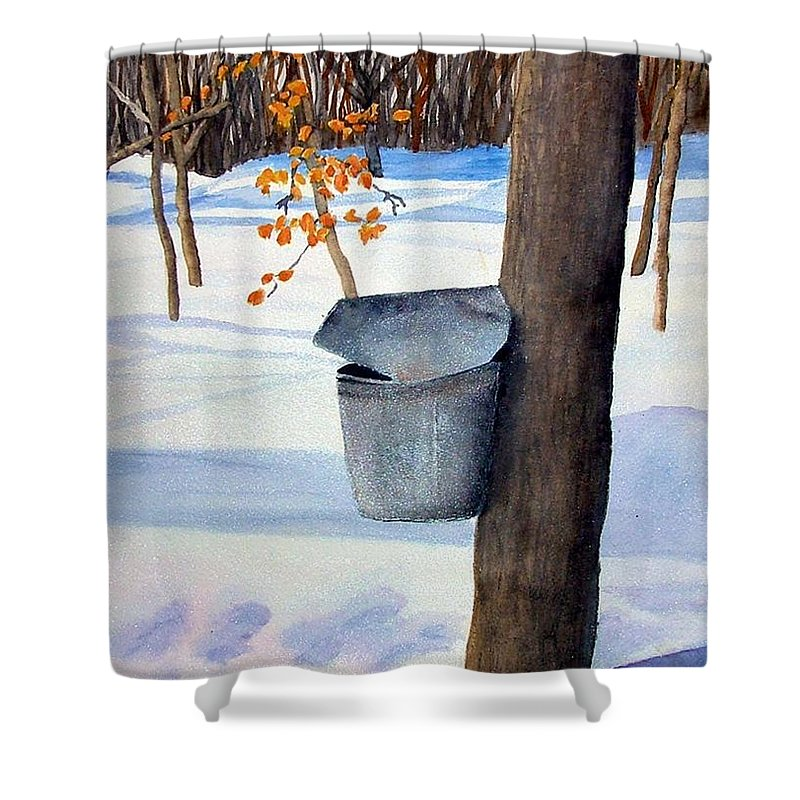 Sap Bucket. Maple Sugaring Shower Curtain featuring the painting Nh Goldmine by Sharon E Allen