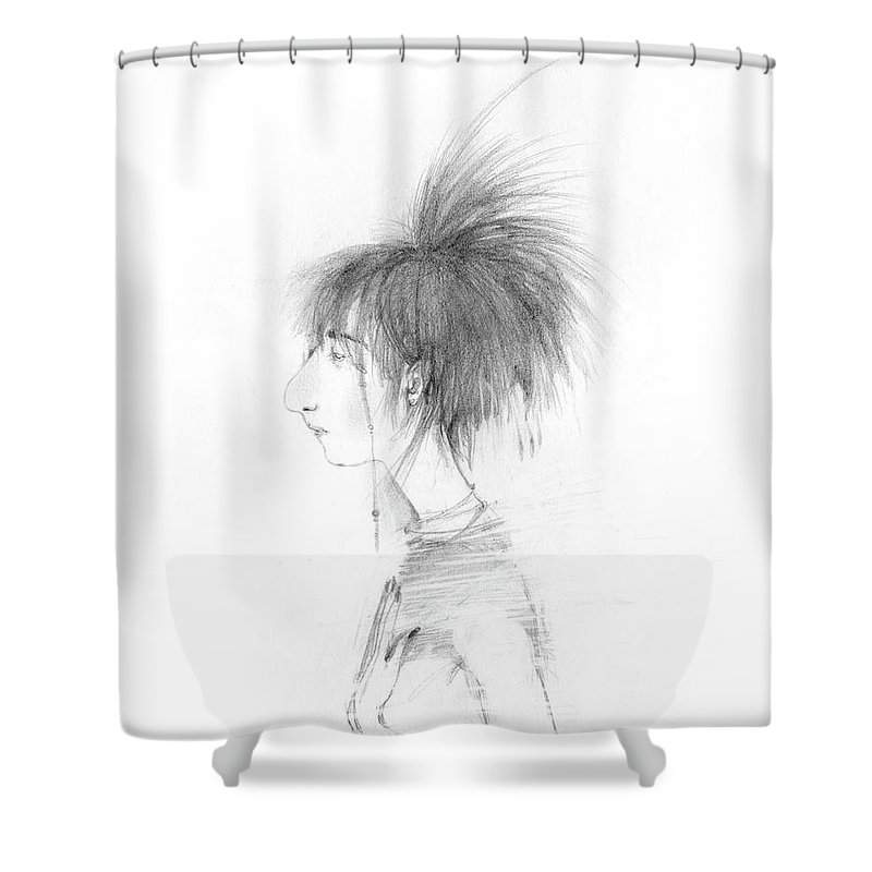 Haircut Shower Curtain featuring the drawing Nice Haircut by Marina Kapilova