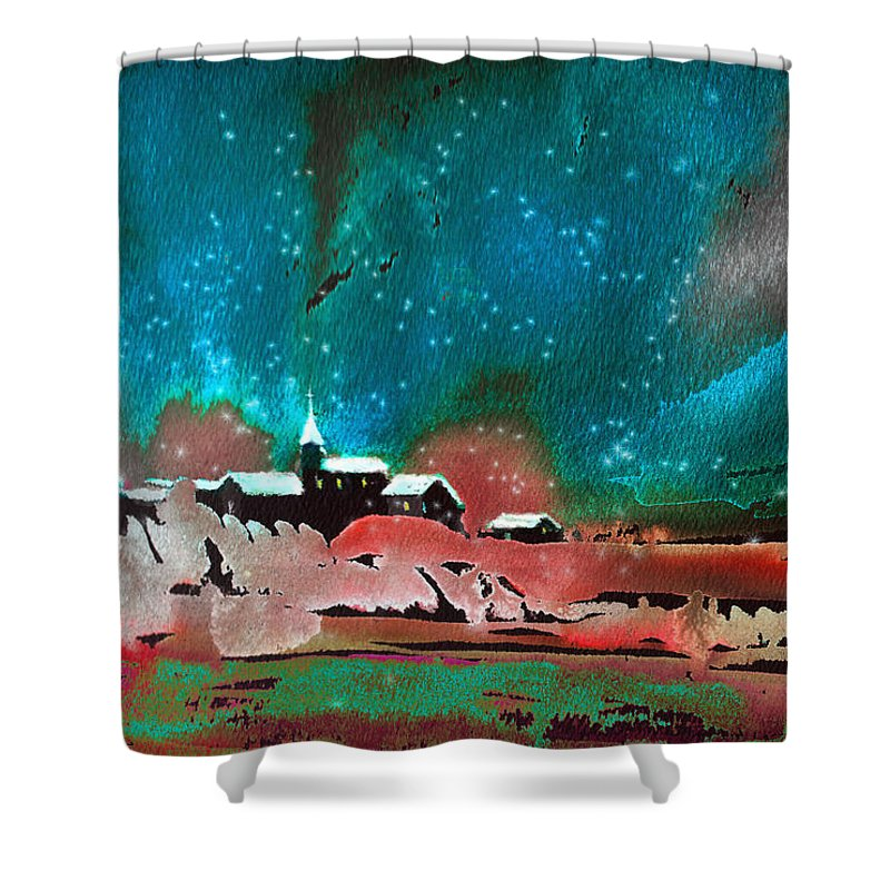 Watercolour Landscape Shower Curtain featuring the painting Nichtfall 14 by Miki De Goodaboom