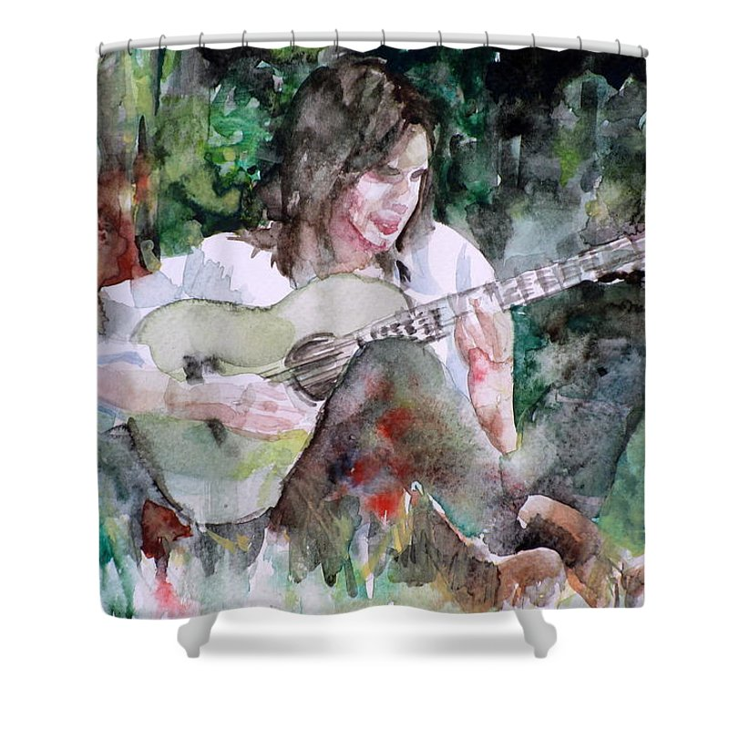 Nick Drake Shower Curtain Featuring The Painting