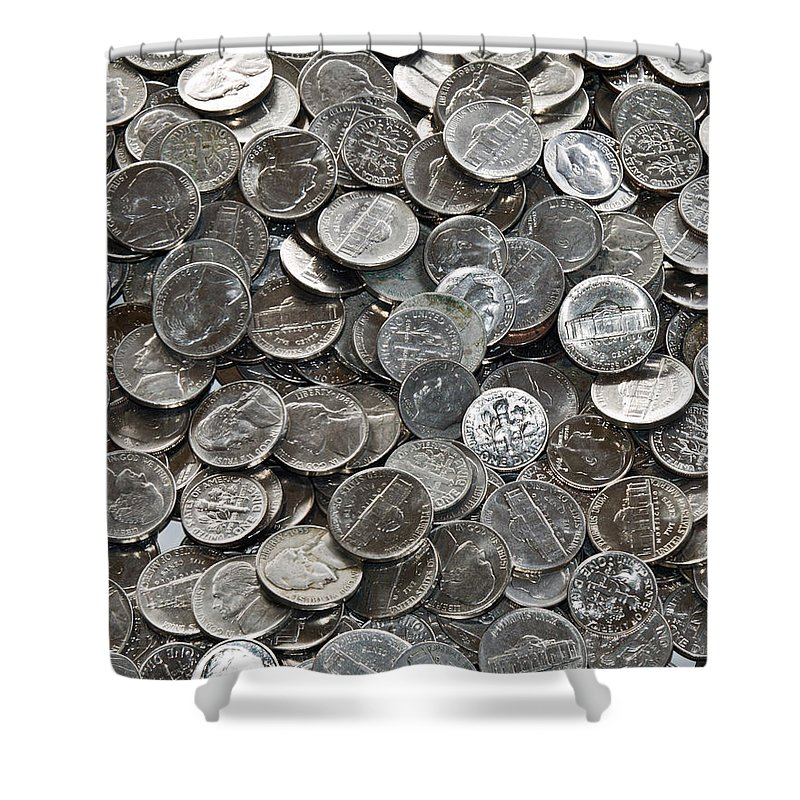 Nickel; Dime; Nickeled; Dimed; Coins; Currency; Silver; Five; Ten; Cents; Change; Cent; Piece; Dolla Shower Curtain featuring the photograph Nickeled And Dimed by Allan Hughes