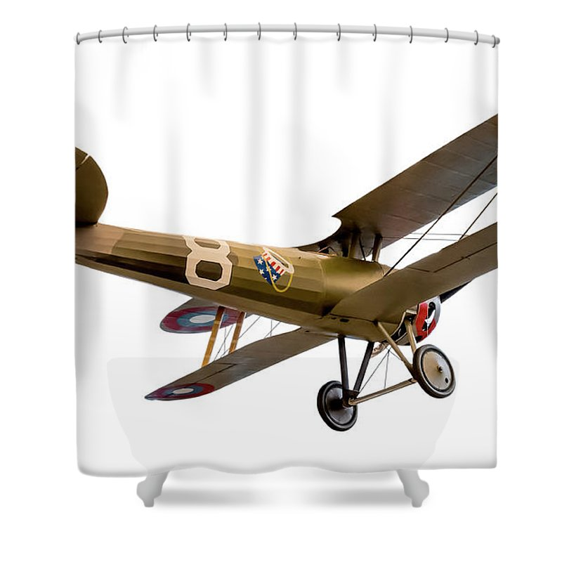 American Aces Shower Curtain featuring the photograph Nieuport 28c-1 by Gary Warnimont