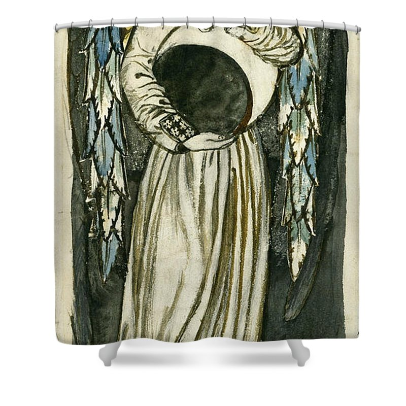 William Morris Shower Curtain Featuring The Drawing Night Angel Holding A Waning Moon By