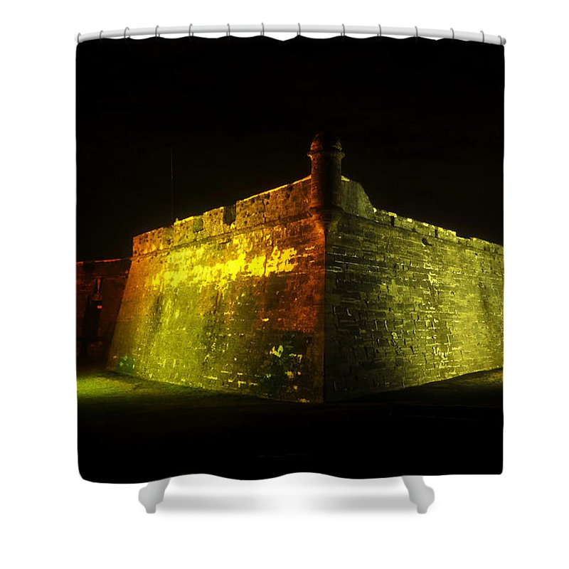 Castillo De San Marcos Shower Curtain featuring the photograph Night at the Castillo by David Lee Thompson