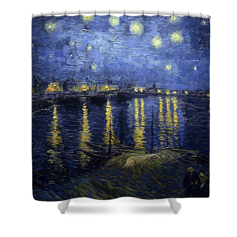 Impressionism Shower Curtain featuring the painting Night At The Lake by Sumit Mehndiratta