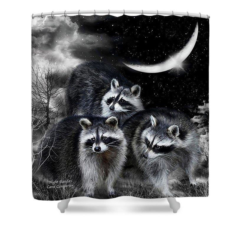 Raccoon Shower Curtain featuring the mixed media Night Bandits by Carol Cavalaris