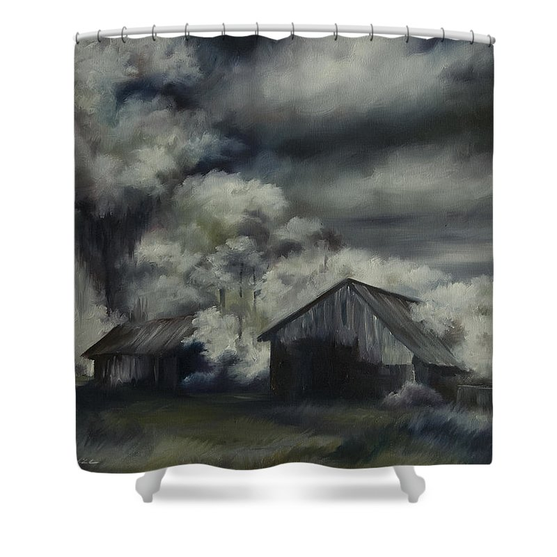 Motel; Route 66; Desert; Abandoned; Delapidated; Lost; Highway; Route 66; Road; Vacancy; Run-down; Building; Old Signage; Nastalgia; Vintage; James Christopher Hill; Jameshillgallery.com; Foliage; Sky; Realism; Oils; Barn Shower Curtain featuring the painting Night Barn by James Christopher Hill