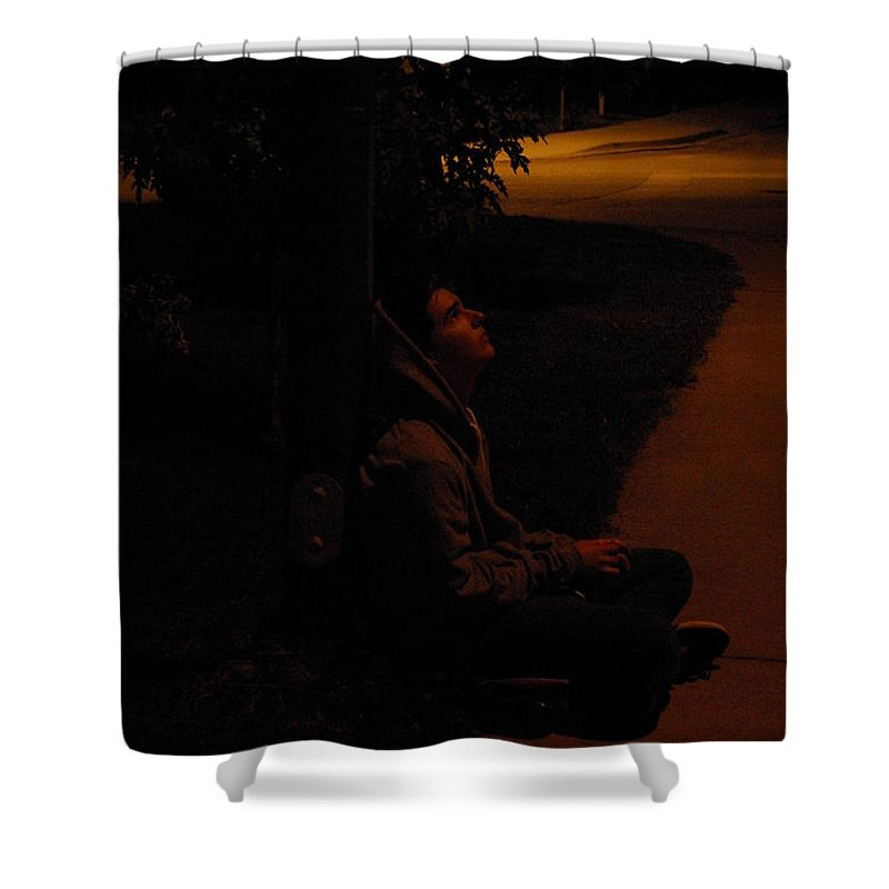 Night Shower Curtain featuring the photograph Night Boy by Cindy Johnston