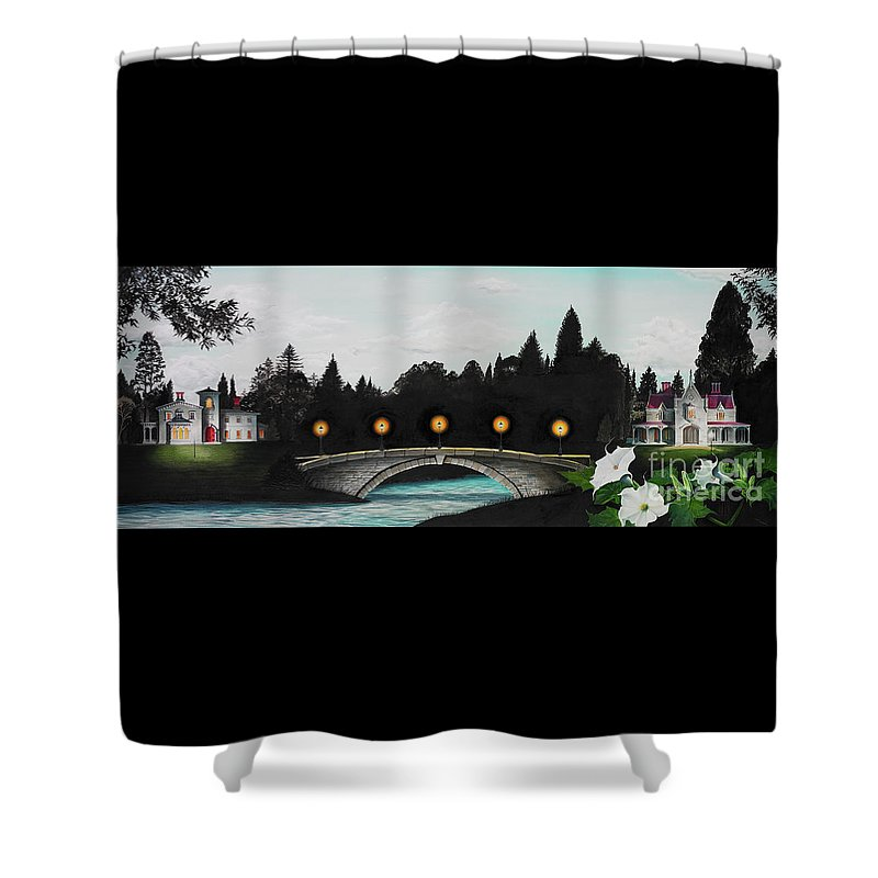 Architecture Shower Curtain featuring the painting Night Bridge by Melissa A Benson