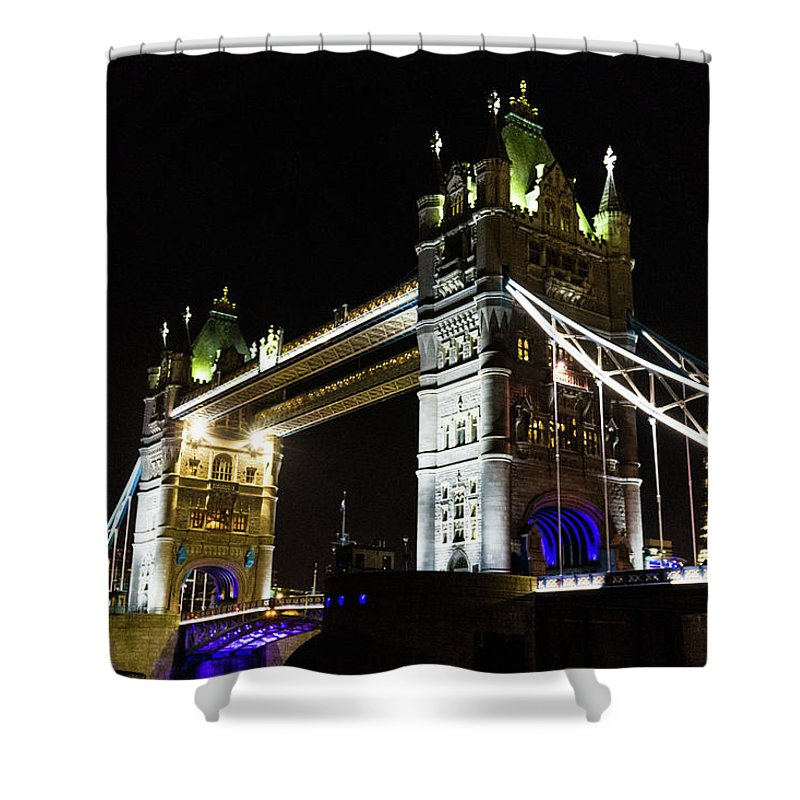 Bridge Shower Curtain featuring the photograph Night Crossing by Robert Stasio