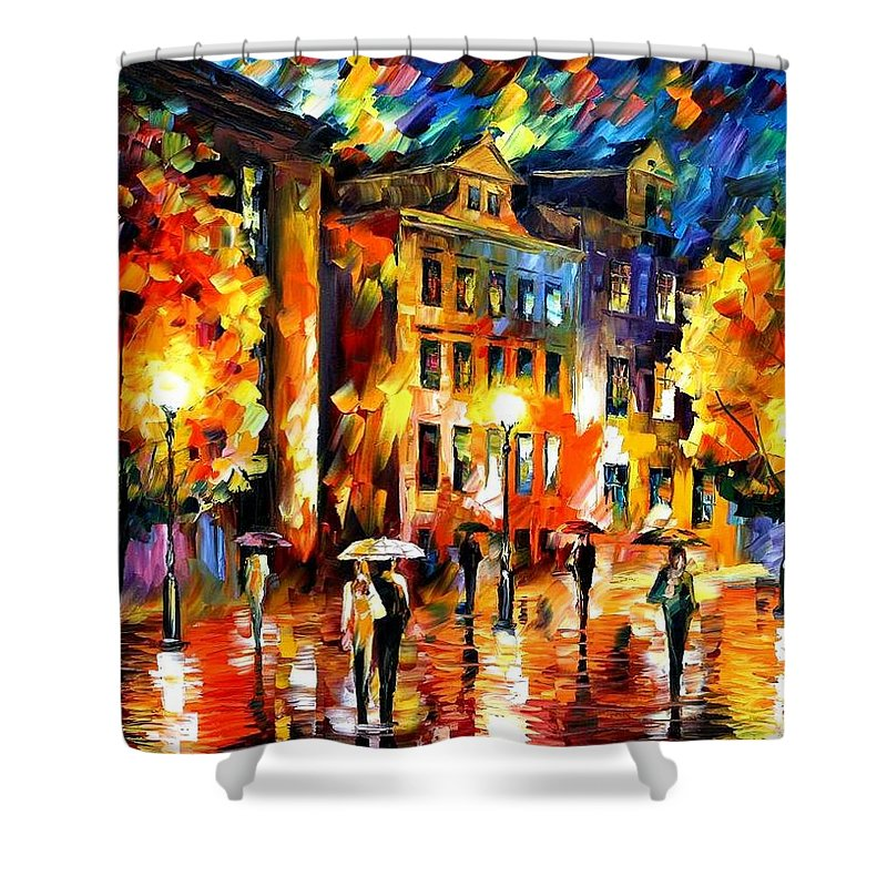 Afremov Shower Curtain featuring the painting Night Enigma by Leonid Afremov