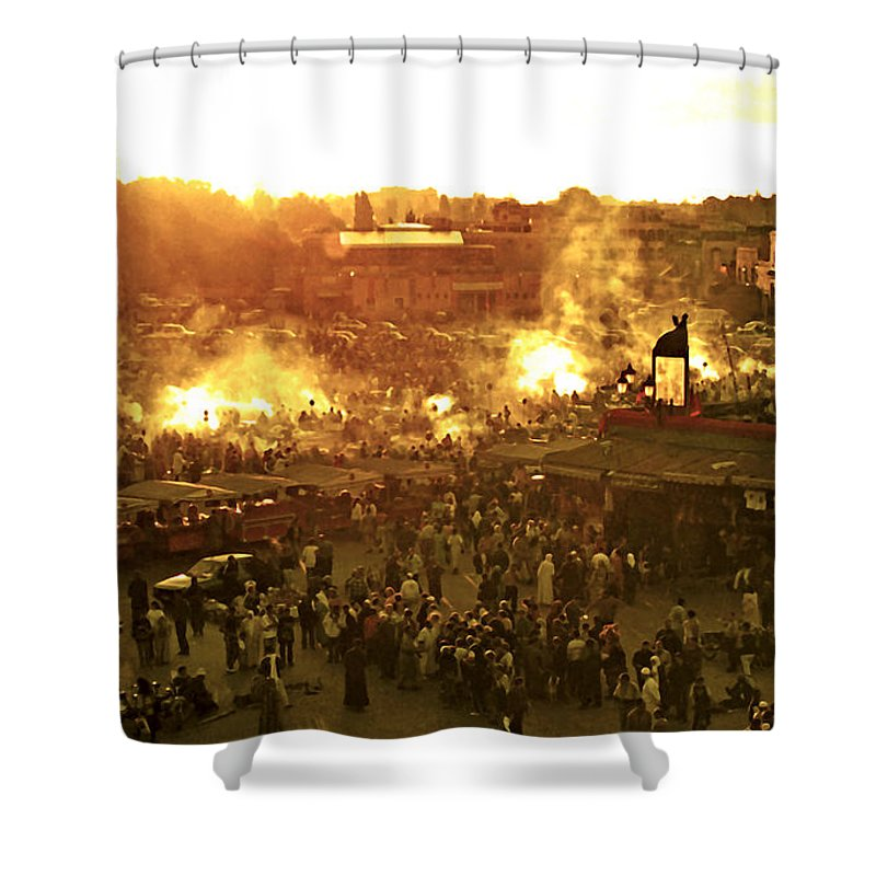Africa Shower Curtain featuring the photograph Night Falls On Jemaa El Fna Morocco by Linda Parker