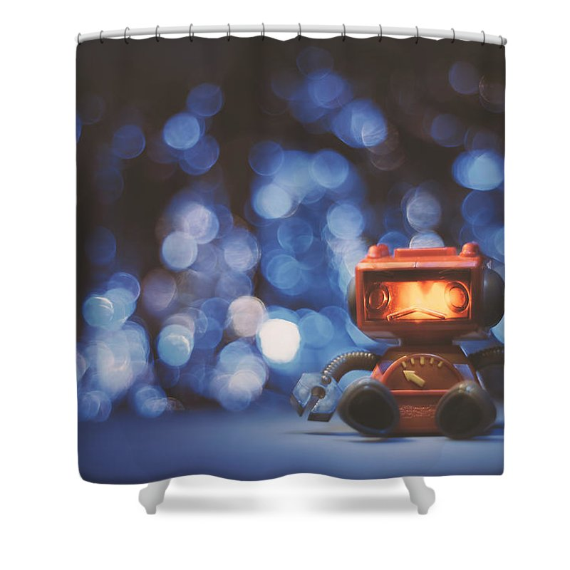 Scott Norris Photography Shower Curtain Featuring The Photograph Night Falls On Lonely Robot By