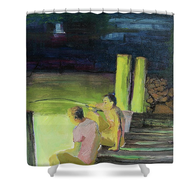 Night Shower Curtain featuring the painting Night Fishing by Craig Newland