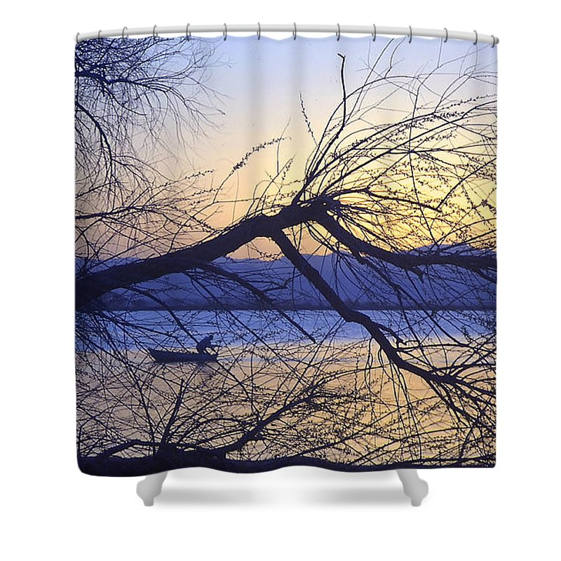 Barr Lake Shower Curtain featuring the photograph Night Fishing In Barr Lake Colorado by Merja Waters